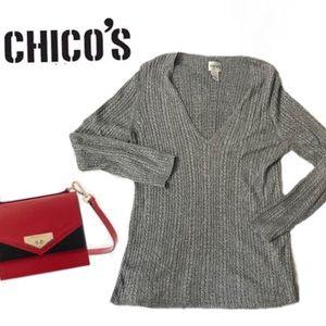 Chico's Silver Lightweight Sweater Sz. M